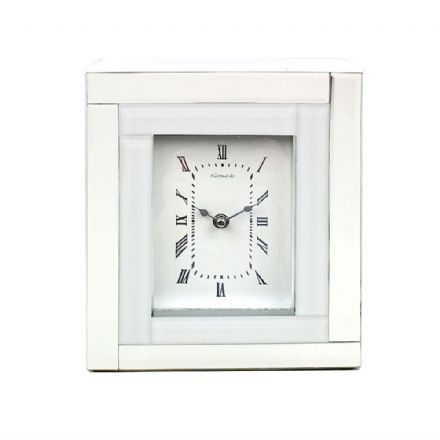 Leonardo White Mirrored Glass Art Deco Style Mantel Clock